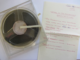 A recording of Mary lecturing in the 70s. We now just need to find some way of listening to it..!
